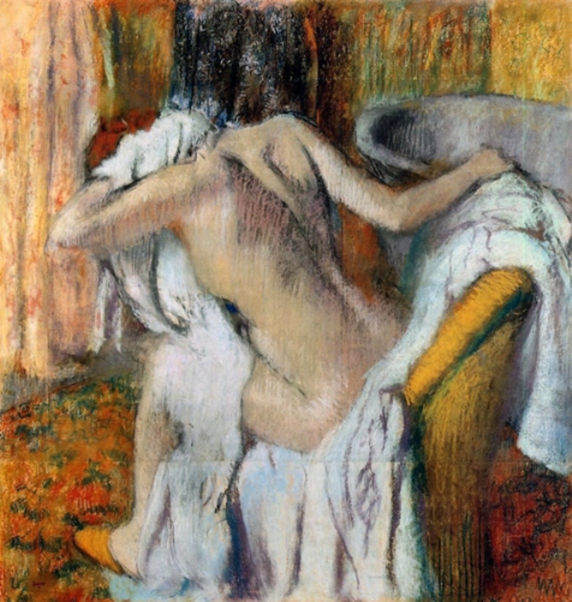 Degas' After the Bath. Much of the sensuality of the Awakening is achieved by suggesting sexual tensions but not describing sexual encounters.
