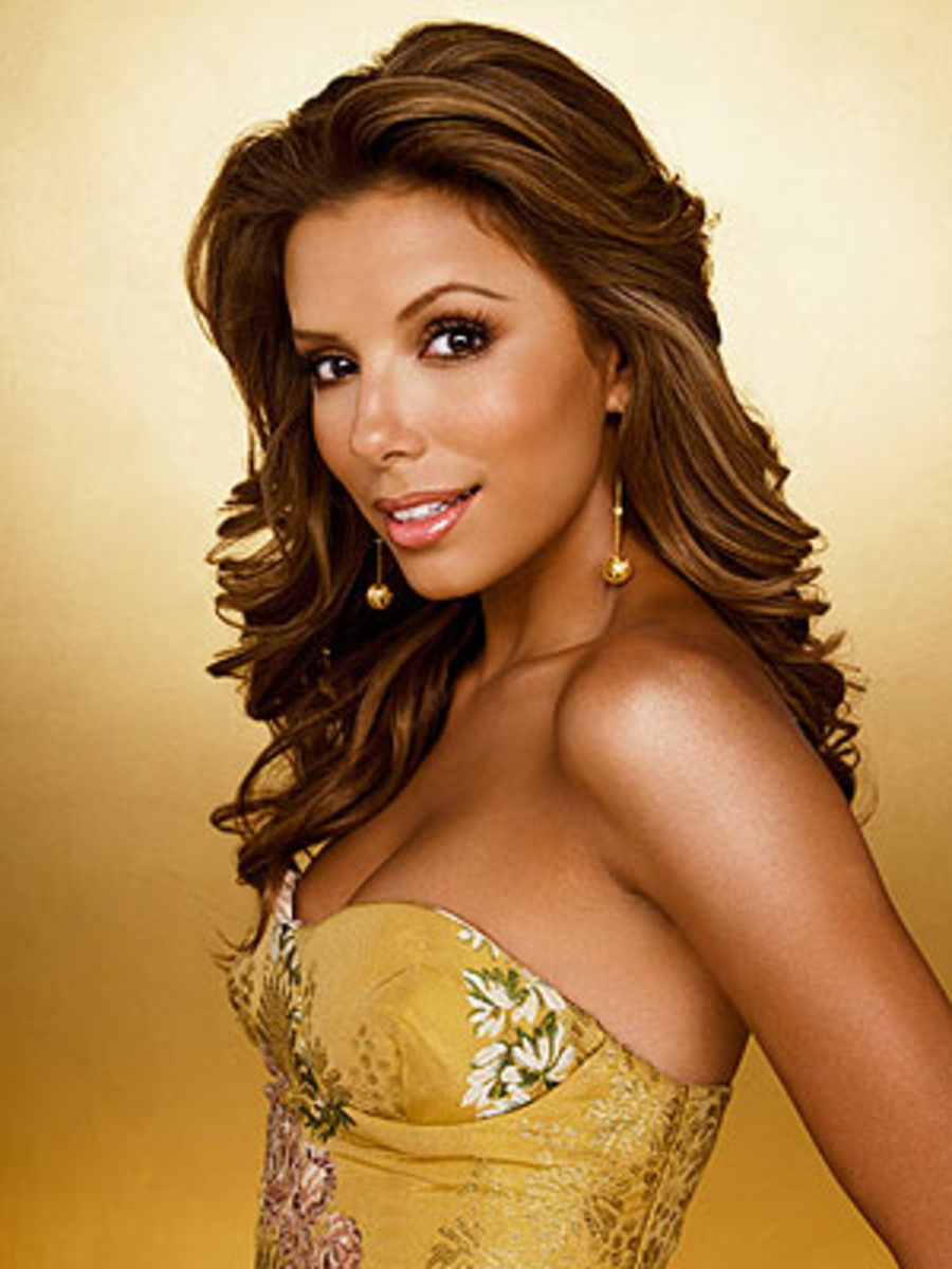 Eva Longoria's eyebrows are thin and quite arched, however the arch is directly where it should be (over the iris) and helps open up her eyes.