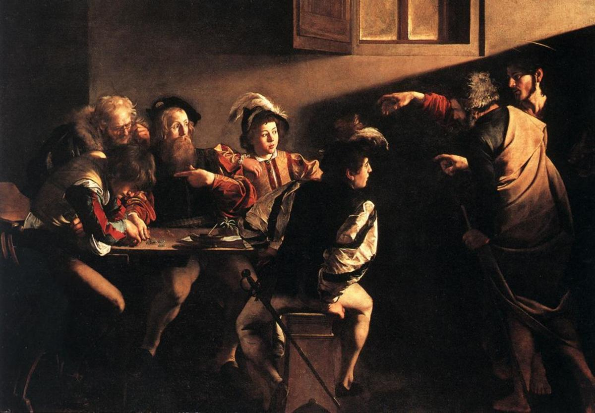 THE CALLING OF ST. MATTHEW BY CARAVAGGIO 1600