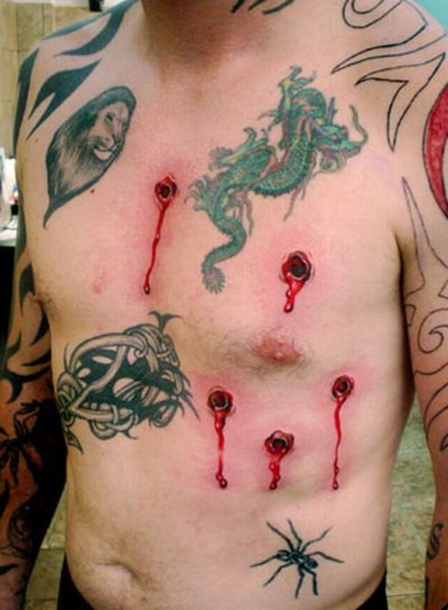 Bleeding Bullet Hole Tattoos