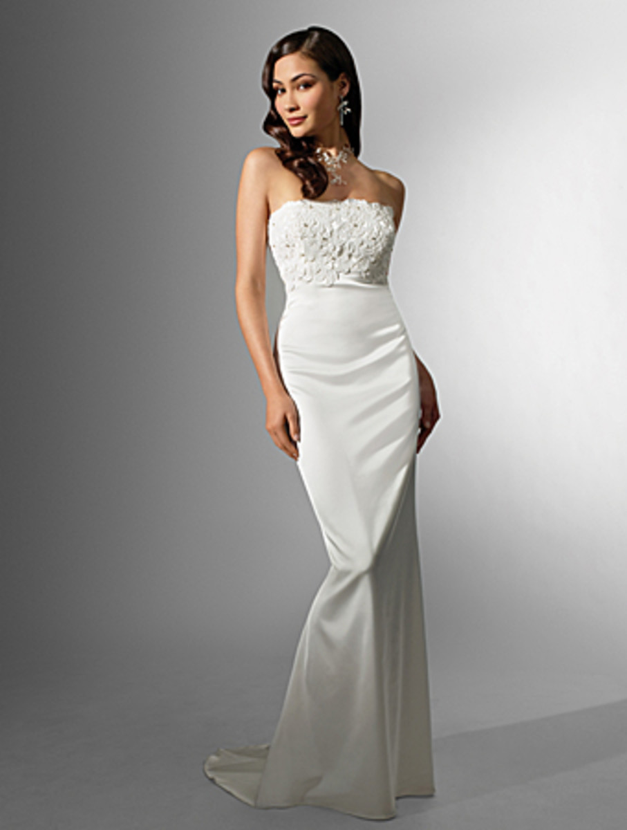 Destination Wedding Dress: Alfred Angelo Nikki White Collection Wedding Dress Style 16542 Stretch Satin Sweep Train
