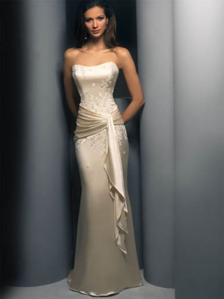 Destination Wedding Dress: Demetrios Destination Romance Wedding Dress Style DR138 Satin charmeuse straple sheath with beaded appliques, band with sash around waist-line.