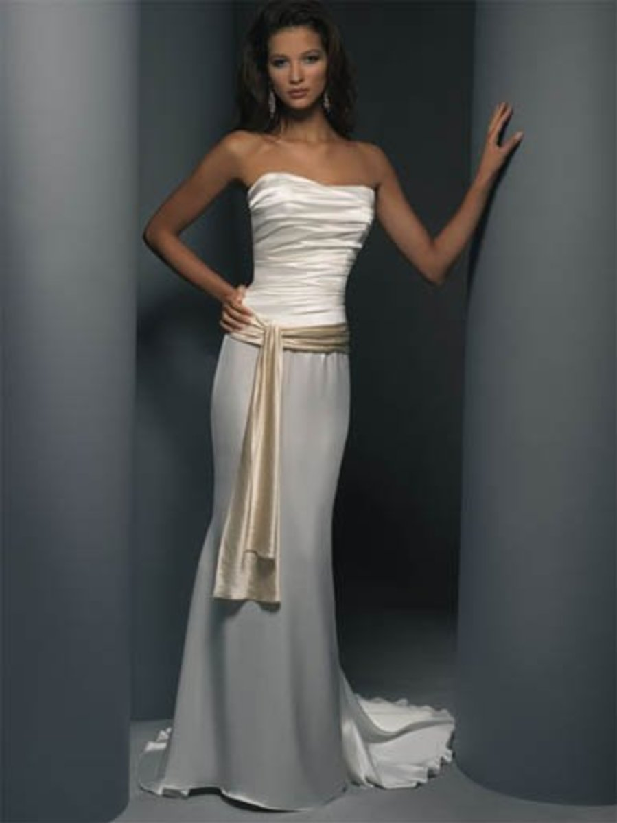 Destination Wedding Dress: Demetrios Destination Romance Wedding Dress Style DR132 Satin charmeuse sheath strapless with ruched bodice with sash on waist-line with chapel train.