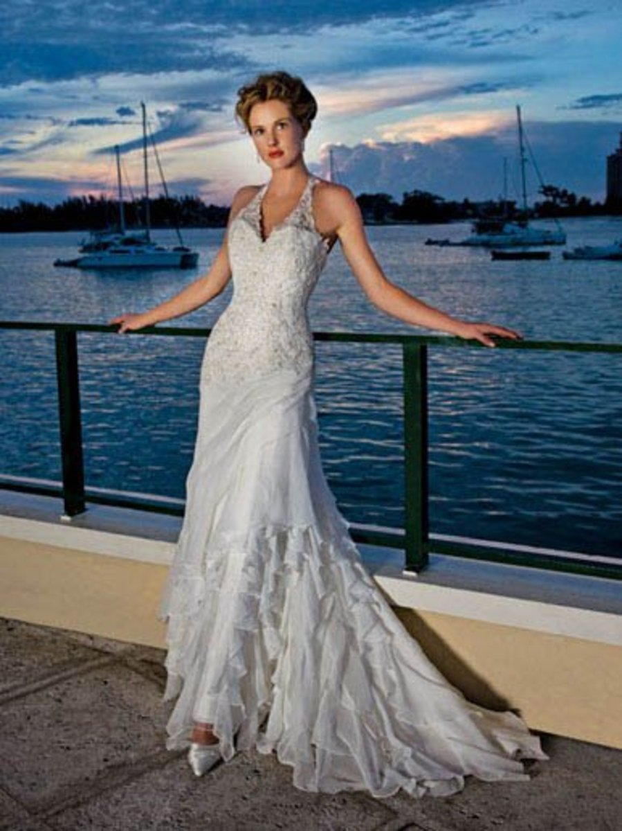 Destination Wedding Dress: Demetrios Destination Romance Wedding Dress Style DR175 Chiffon beaded drop waist with asymmetrical ruffles.