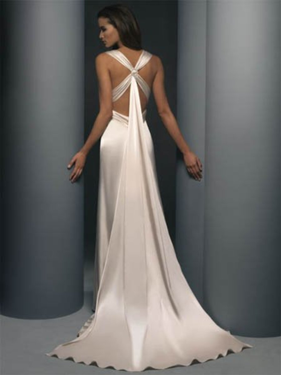 Destination Wedding Dress: Demetrios Destination Romance Wedding Dress Style DR134 Satin charmeuse halter, empire boice, criss-cross open back.