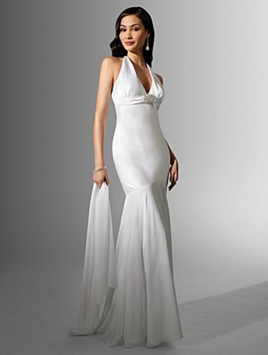 Destination Wedding Dress: Alfred Angelo Nikki White Collection Wedding Dress Style 16504 Charmeuse, Chiffon Floor Length