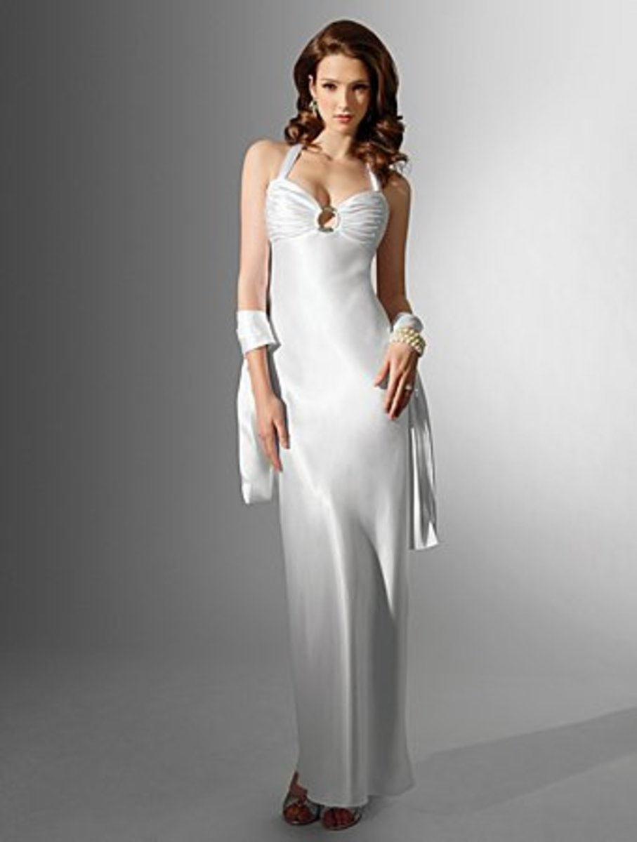 Destination Wedding Dress: Alfred Angelo Nikki White Collection Wedding Dress Style 16588 Charmeuse Sweep Train