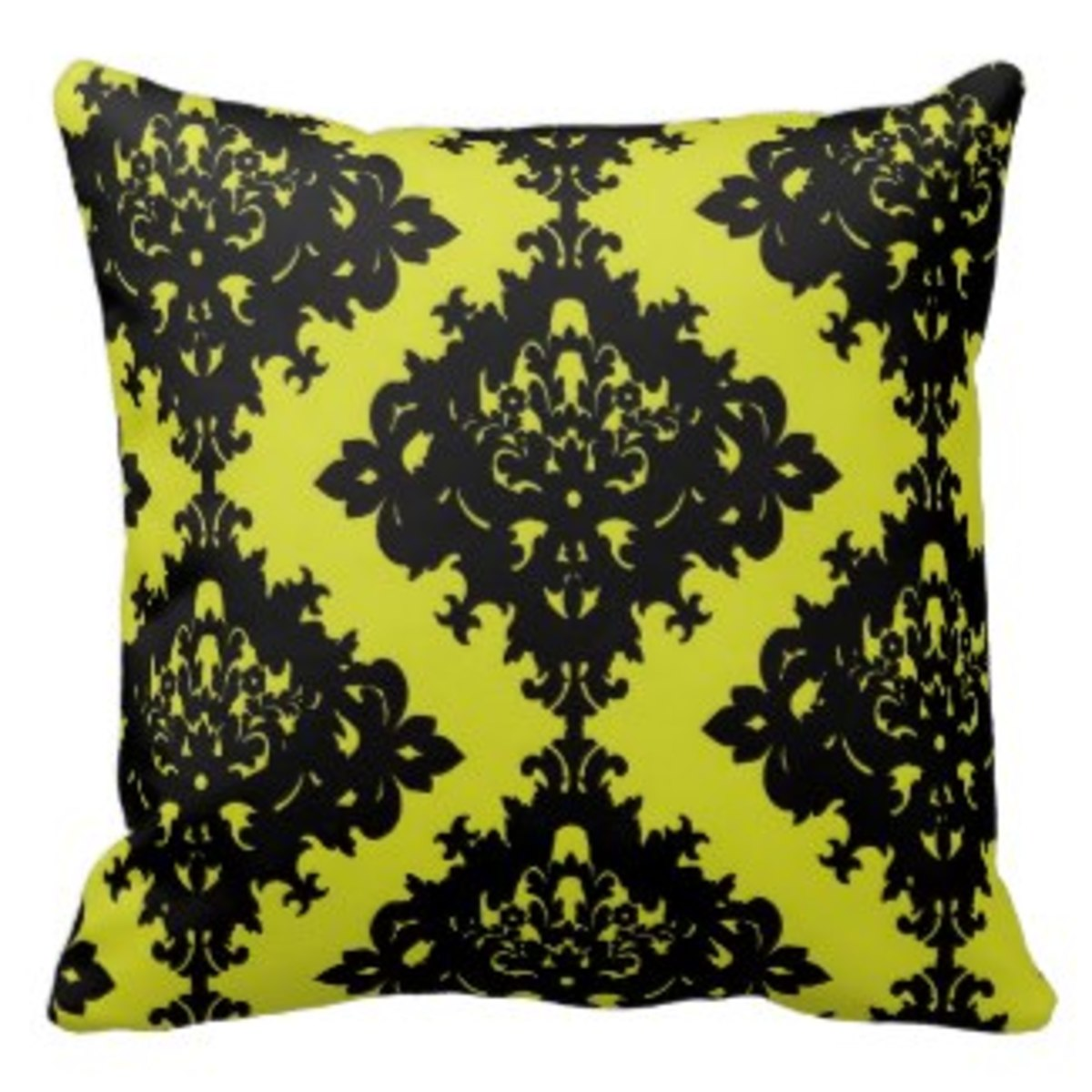 Chartreuse and black elegant diamond damask design throw pillow