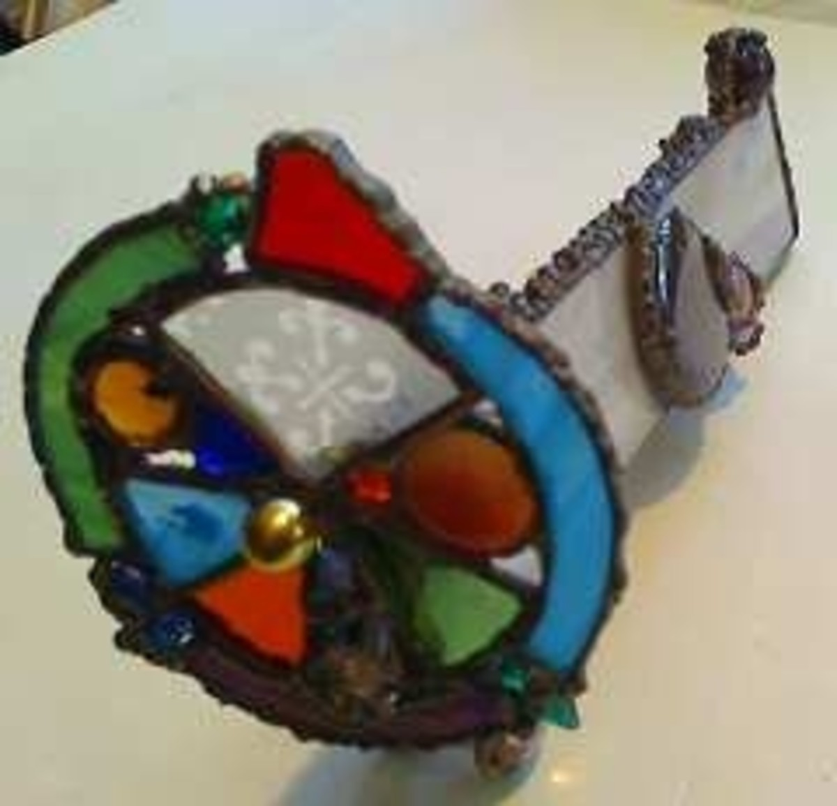 hand made copper foil stained glass kaleidoscope.