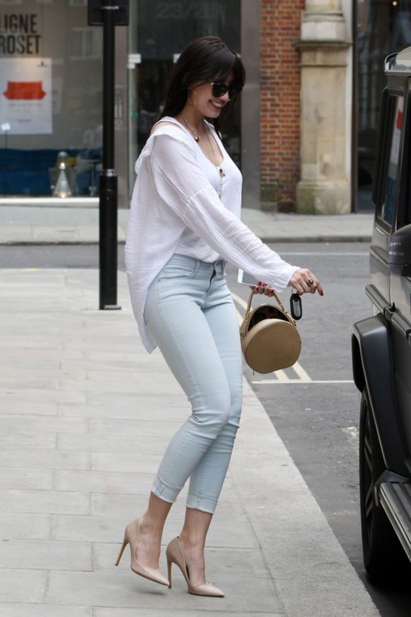 Daisy Lowe in faded denim and pumps