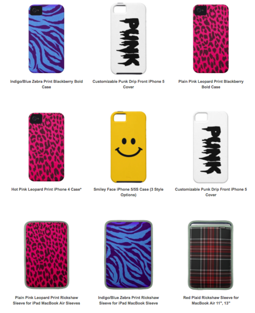 Just a few of the electronics cases that I'm selling in my Zazzle store.