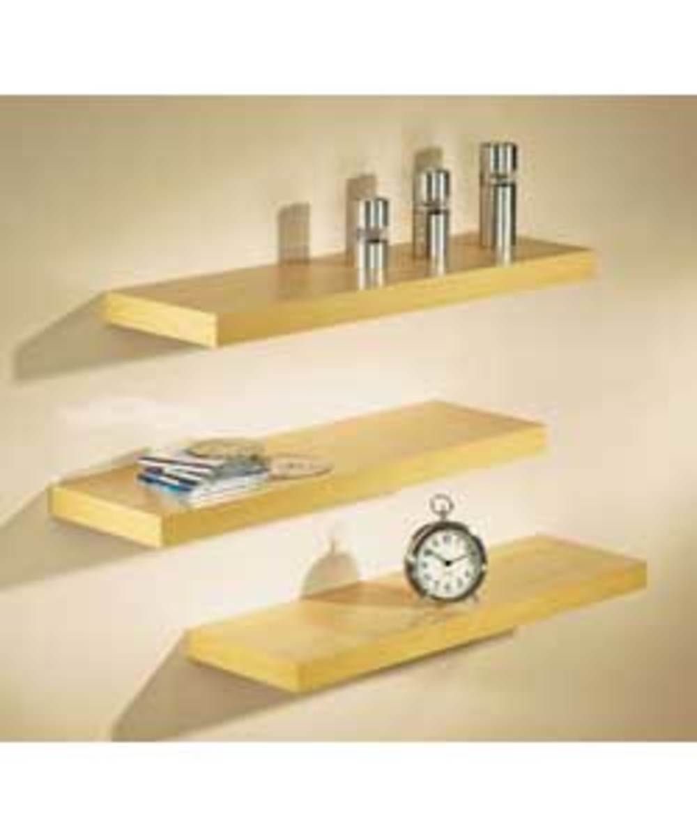 Sleek wall mounted wooden floating shelves for your workplace or your home