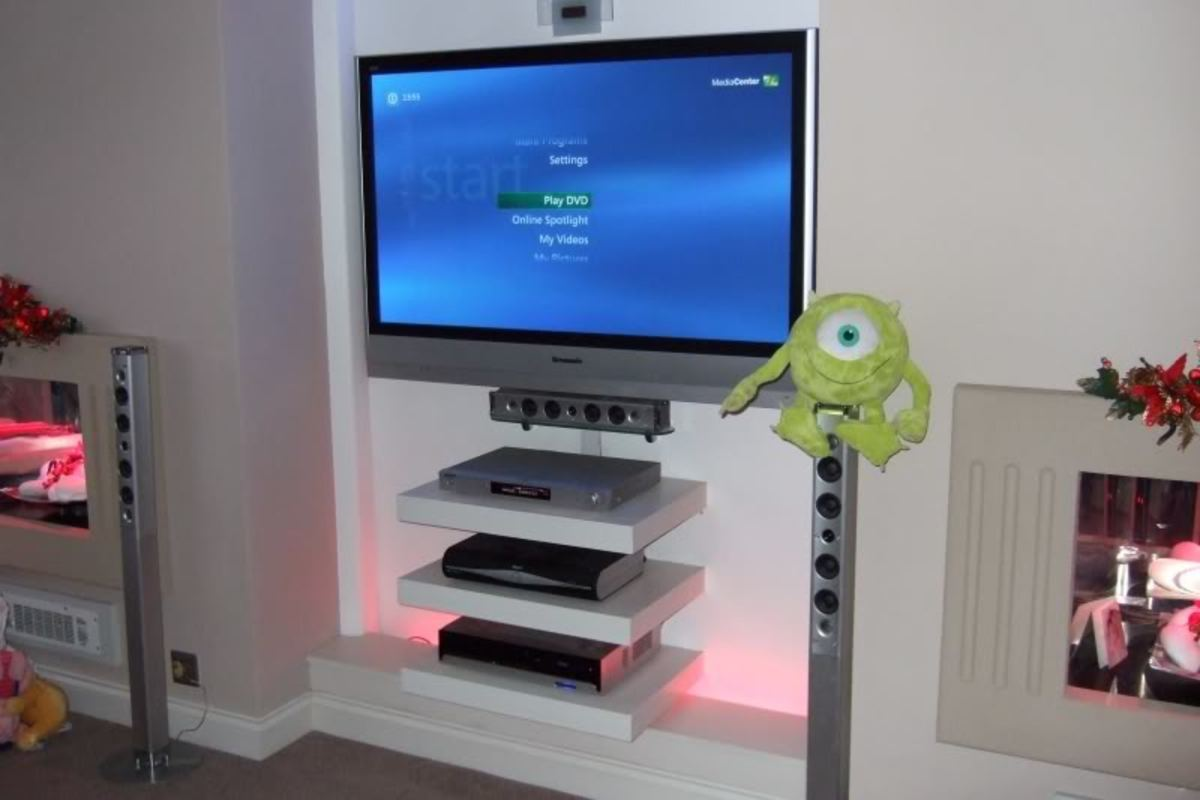 Floating shelves beneath your Plasma TV