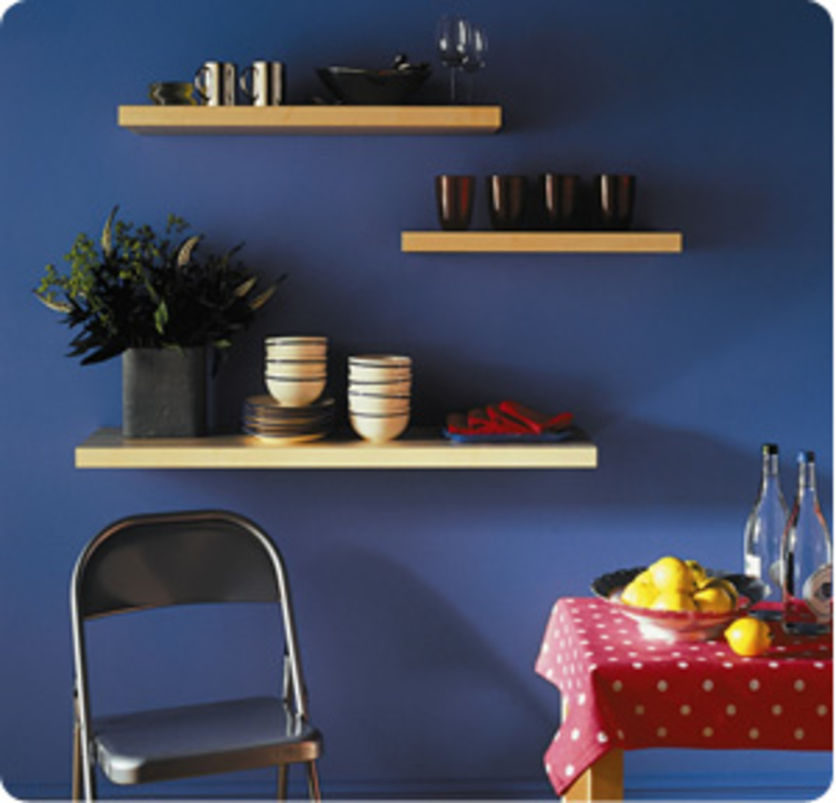 Floating shelves look awesome