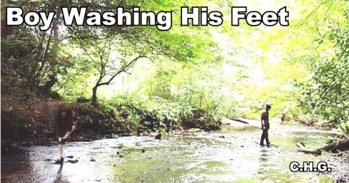 Notice the boy to the left in the photo washing his feet. The boy washing his feet was not there when the photo was taken.
