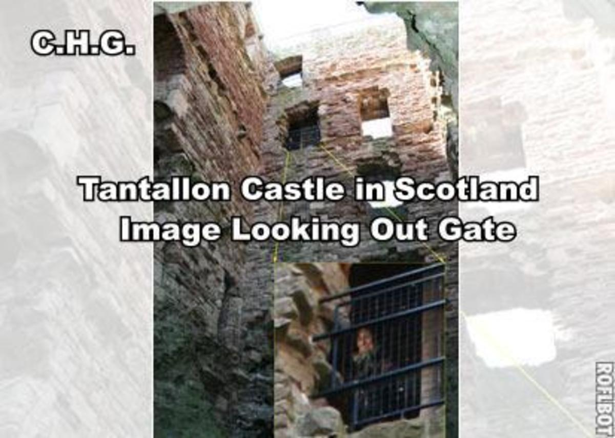 See the figure looking out the Castle Gate. The castle was locked down at the time and no one was in castle. The mysterious image captured by Chris Aitchison at Tantallon Castle in eastern Scotland.