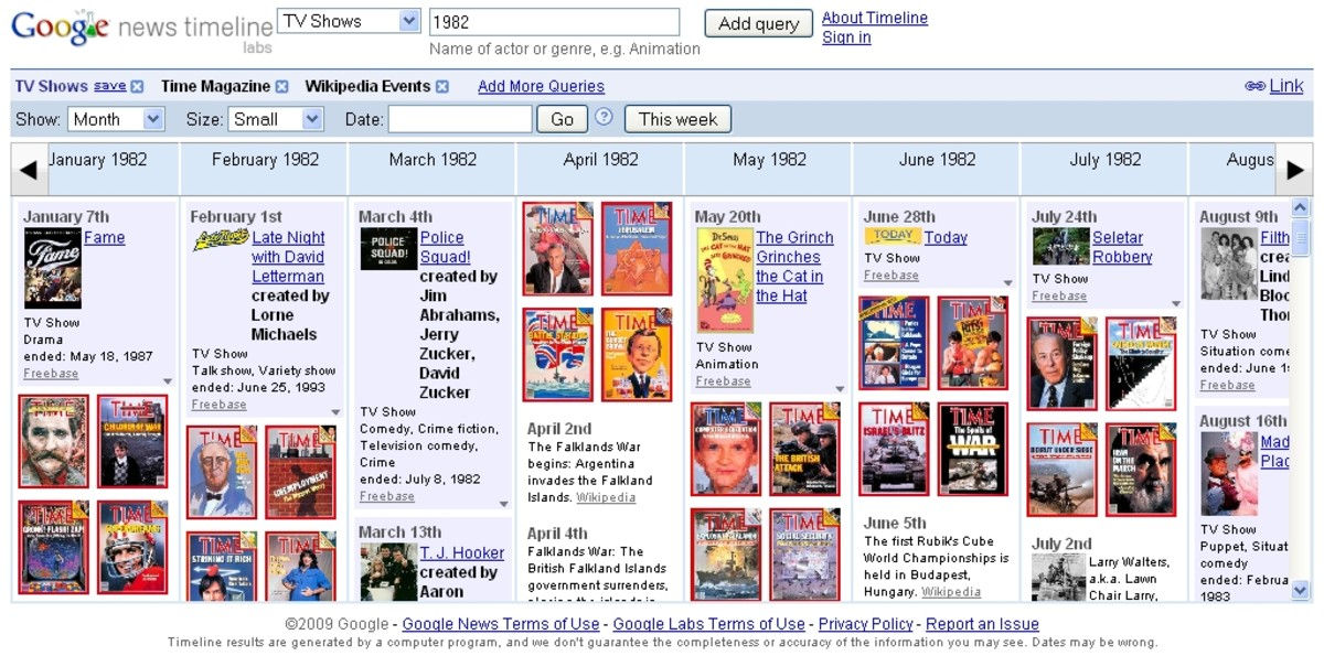 Google News Timeline: you can view news from archives, blog posts,magazine, scanned newspapers, sports, music, movies. You can view multiple sources concurrently. Easy to follow news an gather information related to relevant source