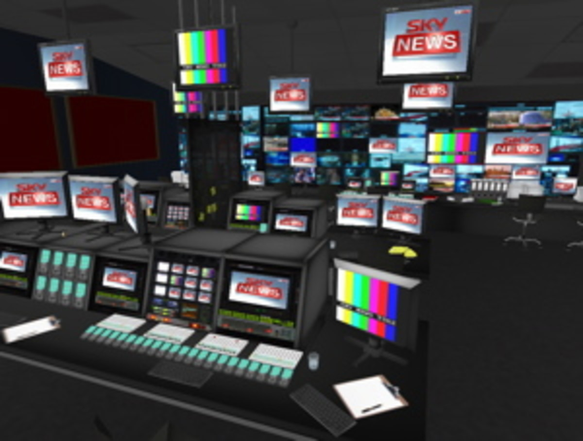 News TV network that has news sets for anchors with TV Cameras and boom mics on trollies, offices and desks, waiting rooms and meeting rooms, production and director's tech rooms