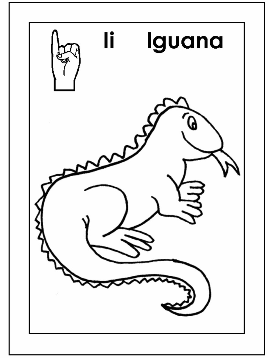 Sign Language Alphabet Free Coloring Pages - Apple to Ice - Letter I for Iguana