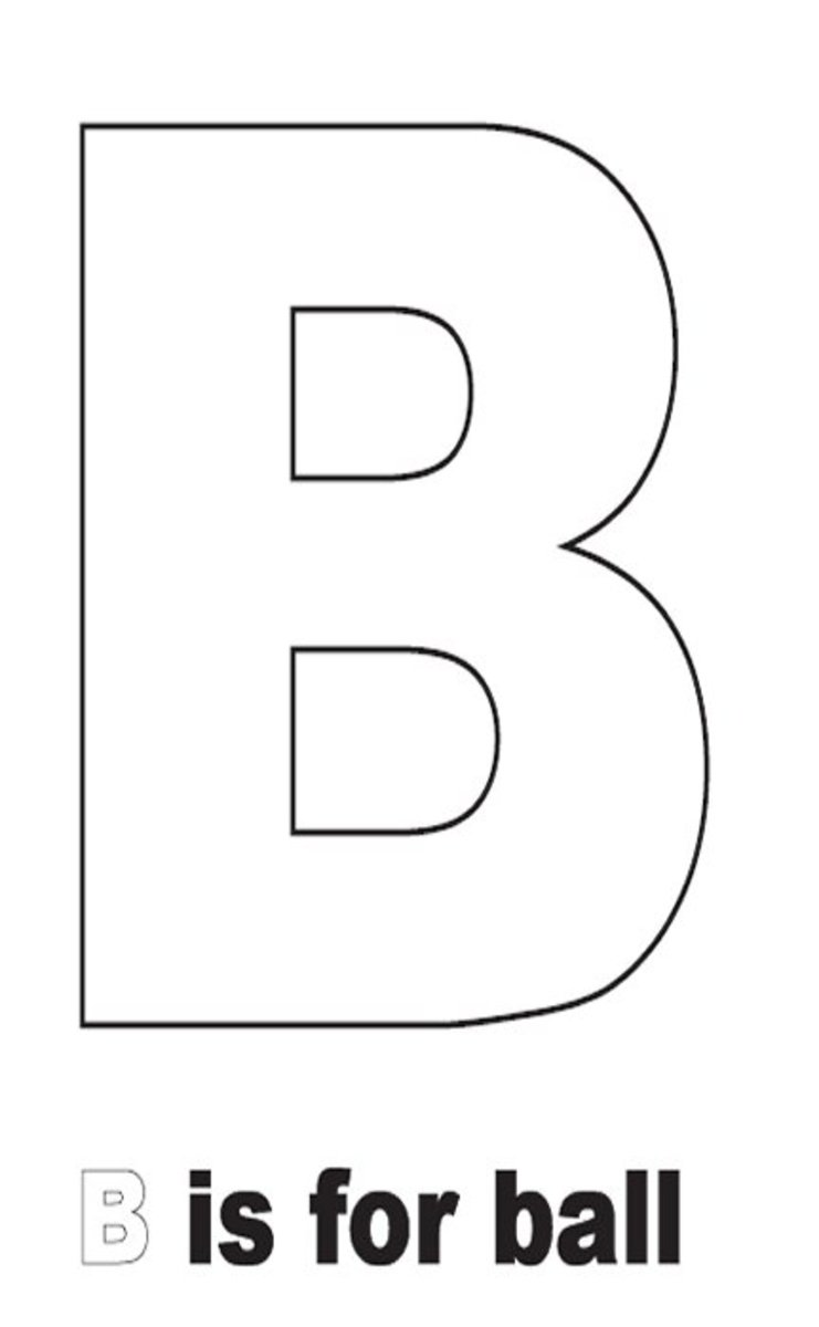 Sign Language Alphabet Free Coloring Pages - Apple to Ice - Letter B