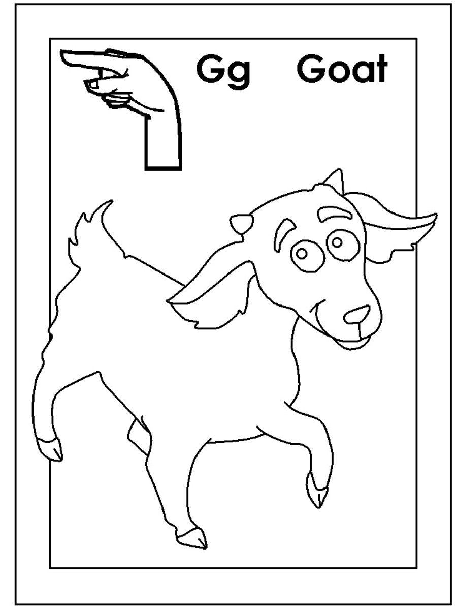 Sign Language Alphabet Free Coloring Pages - Apple to Ice - Letter G