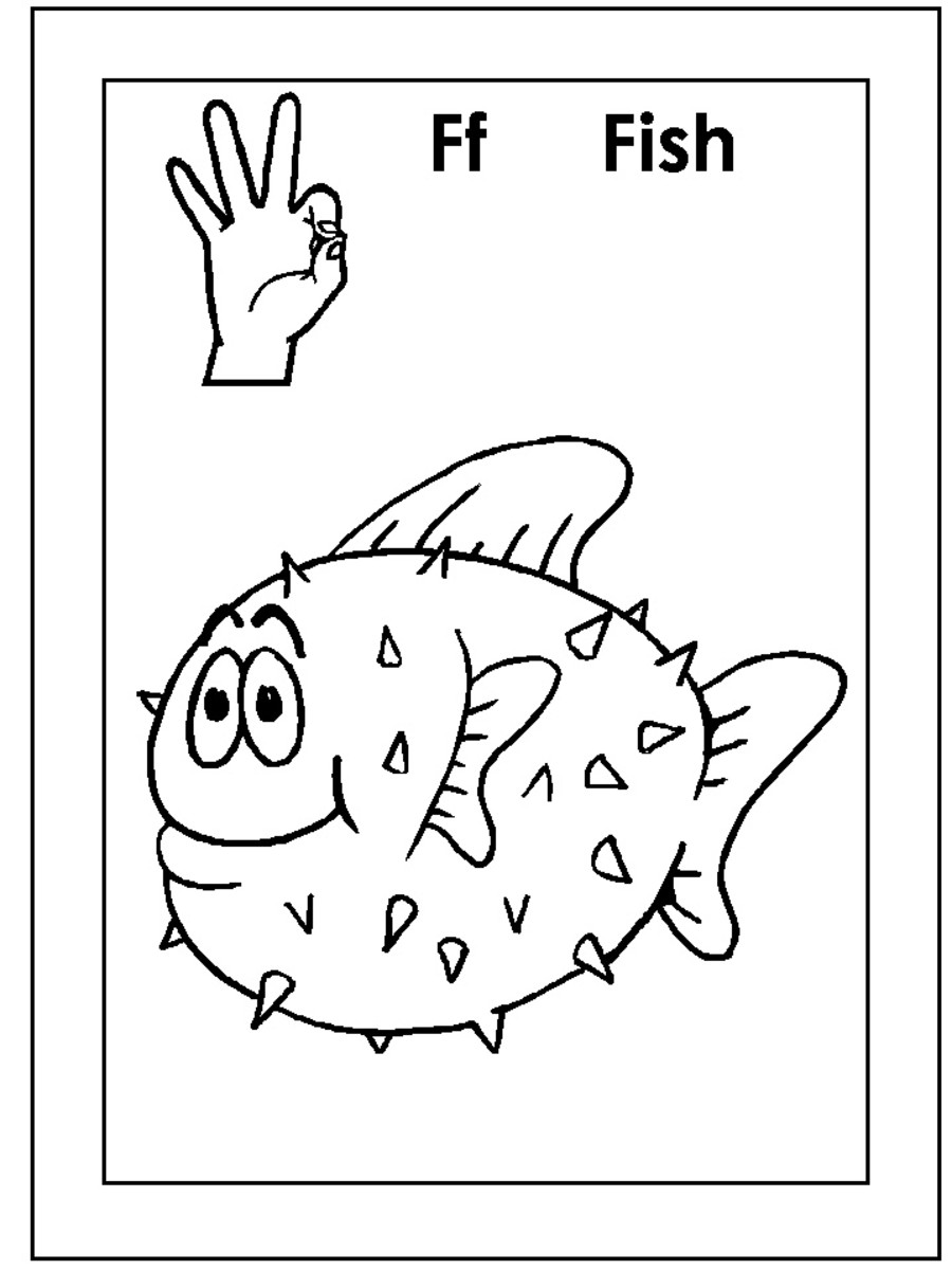 Asl letter f colouring pages for Sign language coloring pages to print