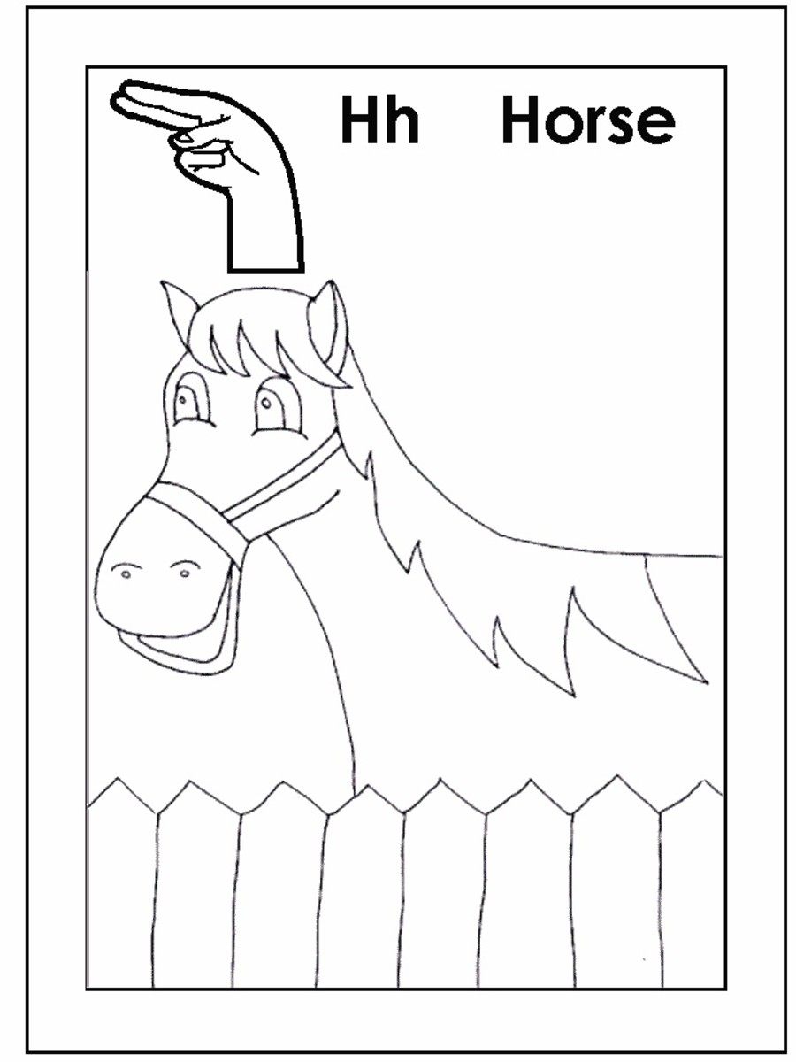 Sign Language Alphabet Free Coloring Pages - Apple to Ice - Letter H