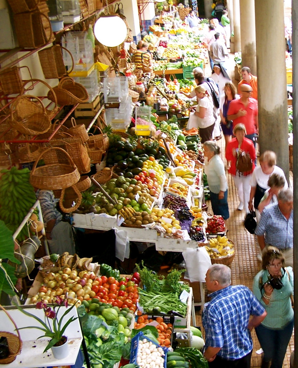 Farmers market with fresh produce from the Island
