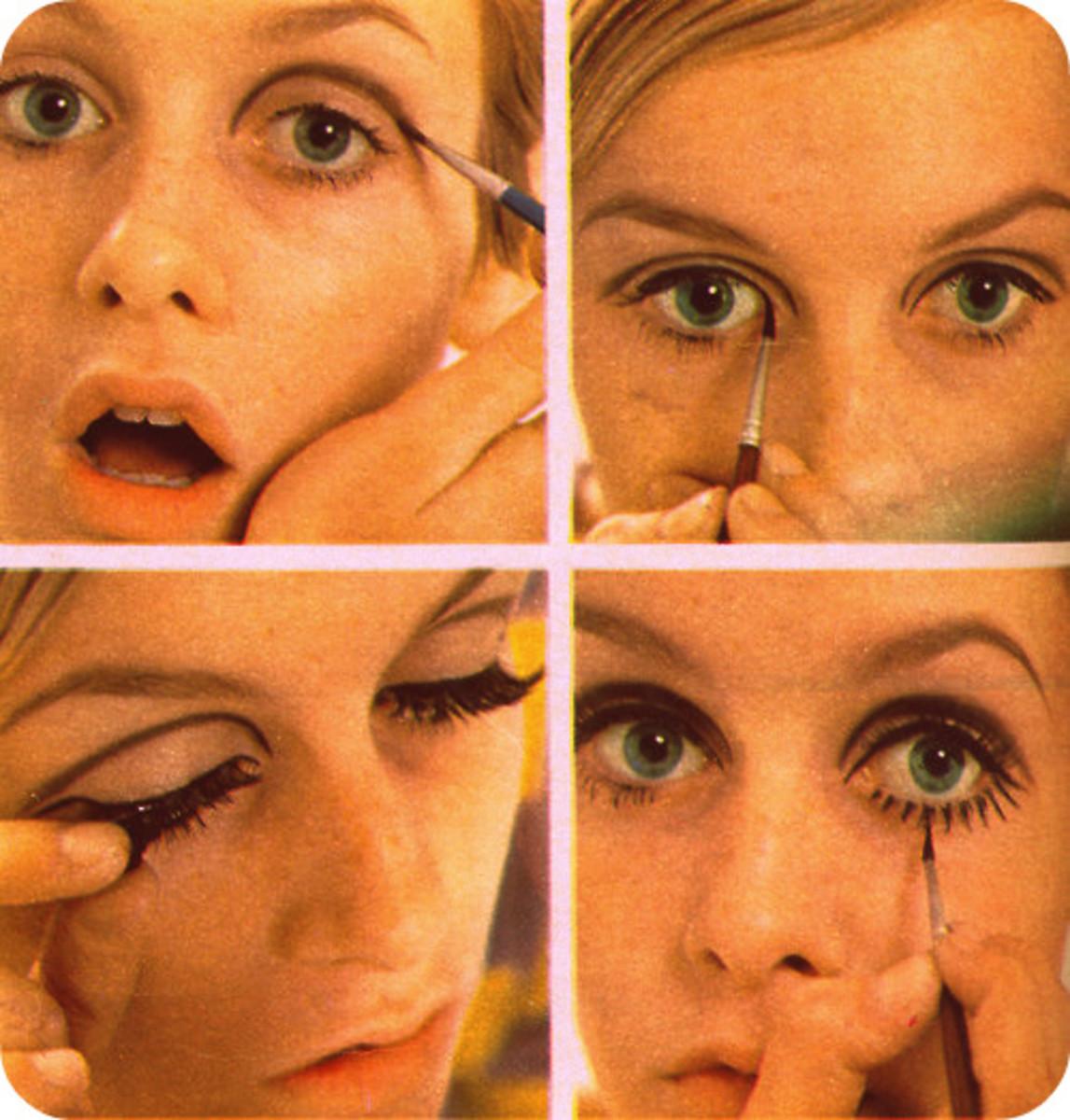 Twiggy puts on her eye makeup.