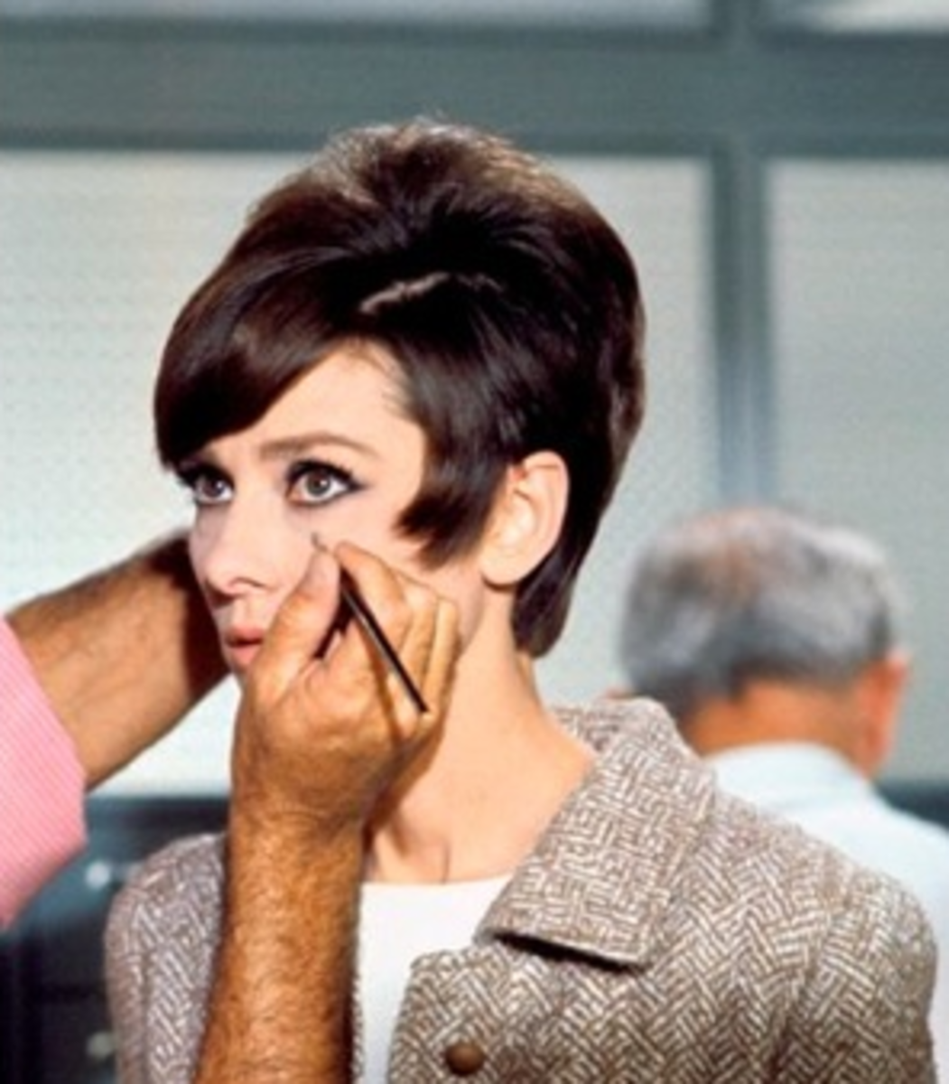 Audrey gets her makeup done in the 60's.
