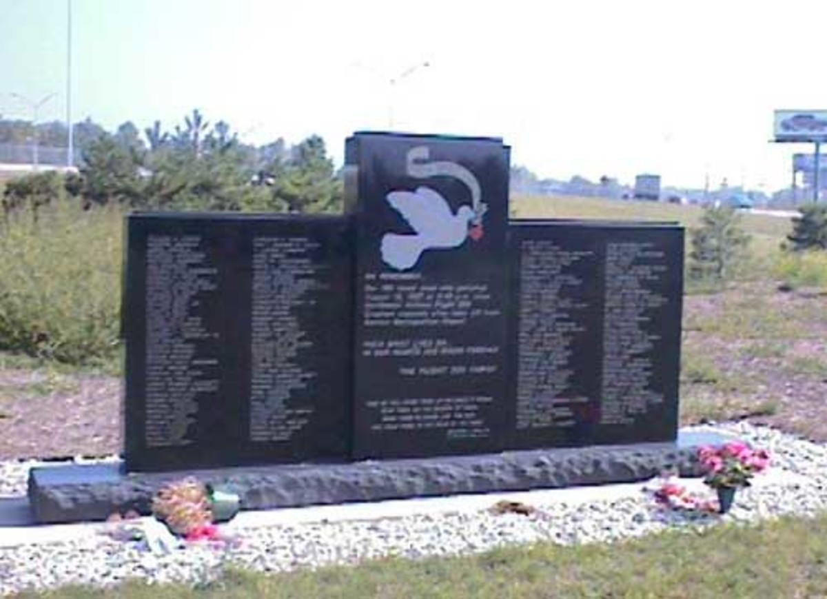 Memorial to the people who were killed from the crash of Flight 255 at a bridge on I-94 in Romulus, Michigan, at 8:48 pm on August 16, 1987. Apparently the plane's wing touched a building on the airport property, then flipped over on to the ground, k