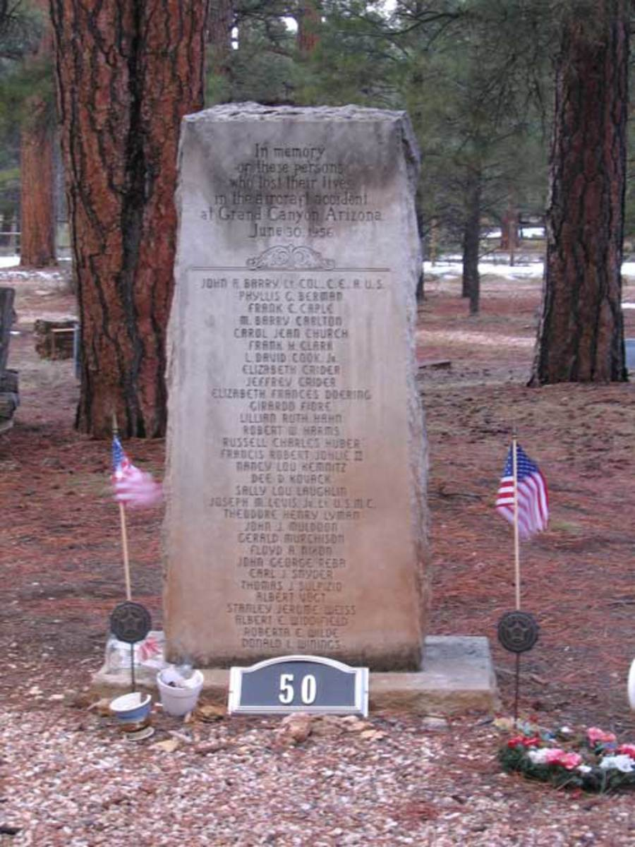 The remains of the unidentified victims aboard the United Airlines DC-7 are buried in Grand Canyon Cemetery. The unidentified victims aboard the TWA Constellation were interred at Citizens Cemetery in Flagstaff, Arizona