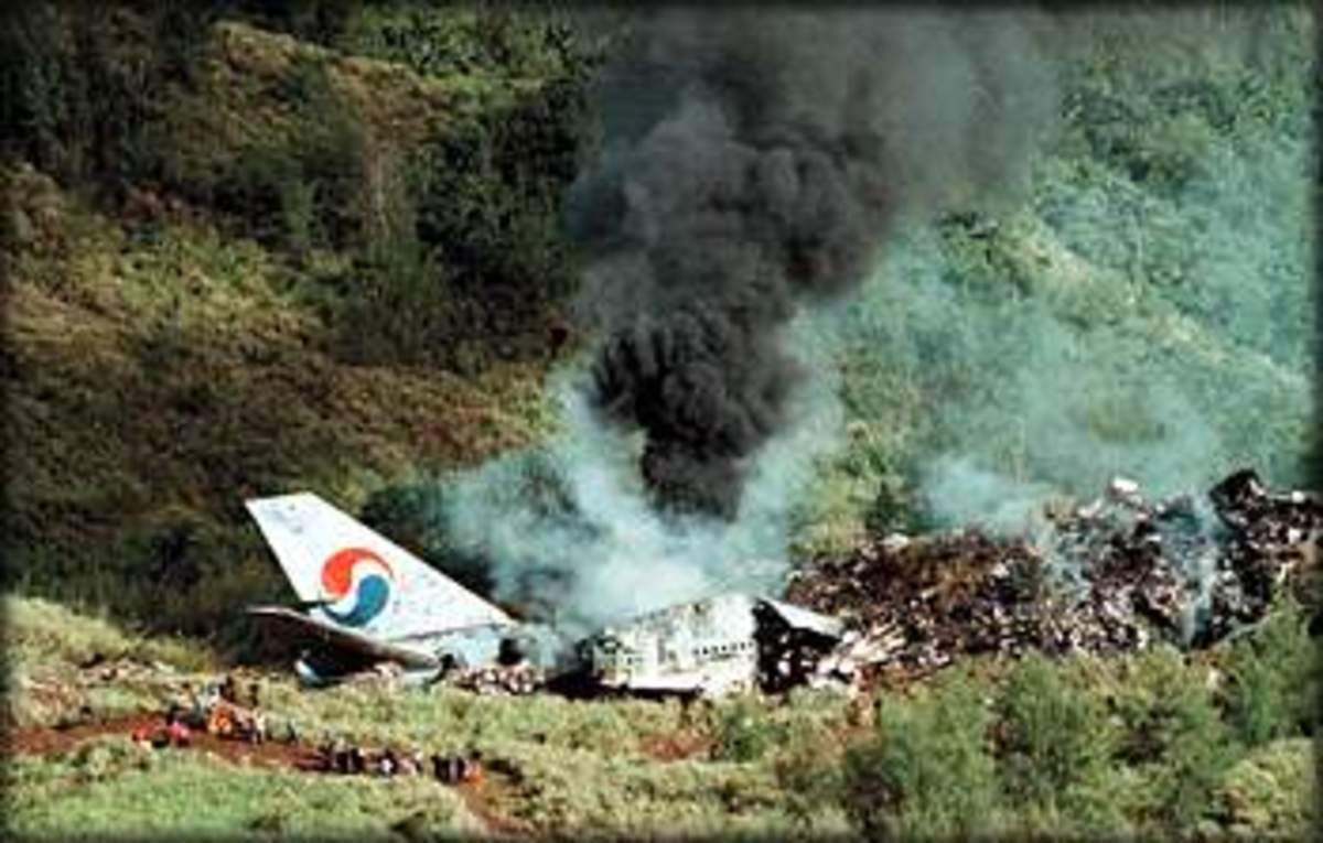 This Korean Airlines Boeing 747 crashed while attempting to land at Guam in heavy rain.