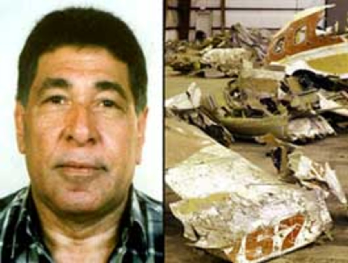 Gameel el-Batouti was suspected of purposely crashing Egyptair 990 (left). Wreckage of the plane (right).