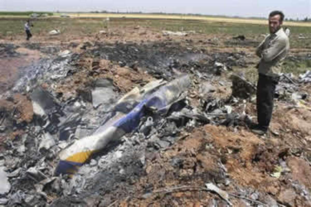 Crashed into a field and disintegrated shortly after taking off from Tehran.