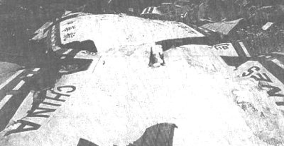 The wreckage of a China Airlines Airbus 300 which crashed after the first officer inadvertently triggered the TOGA lever during a landing attempt at Nagoya Airport.
