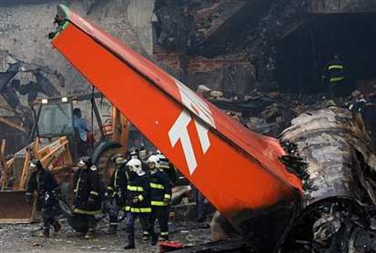 Fiery wreckage of a TAM Airbus after it attempted to land in heavy rain at Congonhas Airport. The plane skidded off the end of the runway across a major roadway and struck a gas station and building, bursting into flames.