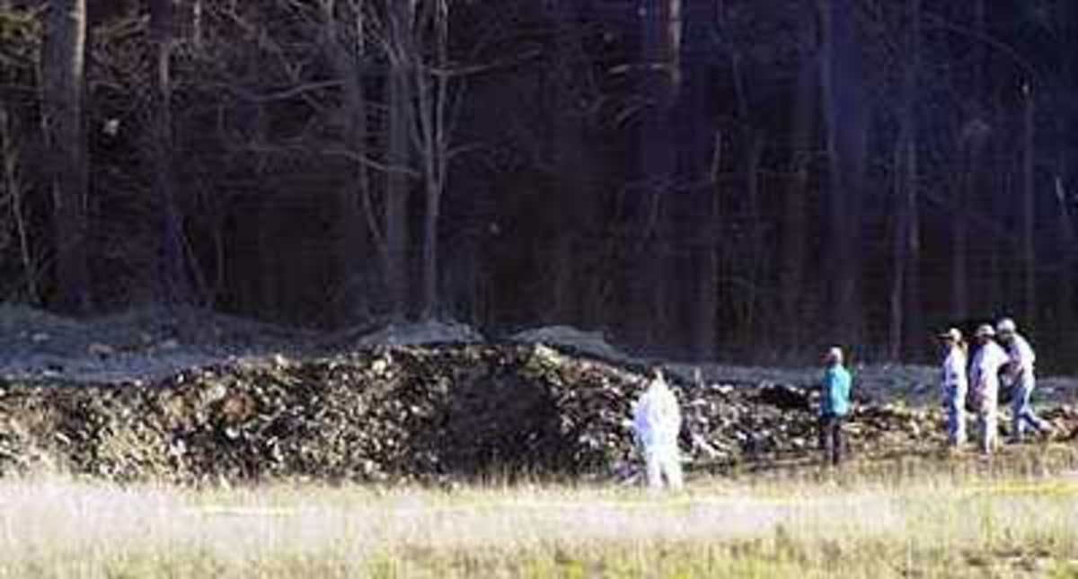 Wreckage of United Airlines Flight  93, a Boeing 757, on a scheduled flight from Newark to San Francisco, which crashed near Shanksville, Pennsylvania.