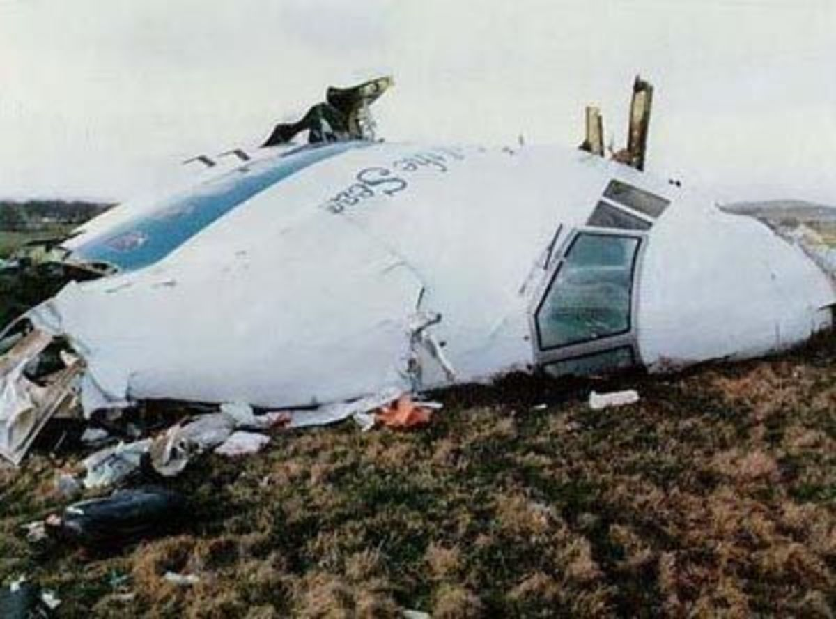 The cockpit section of Pan Am Flight 103 which crashed at Lockerbie, Scotland after a bomb, planted by terrorists, exploded in the forward cargo area.