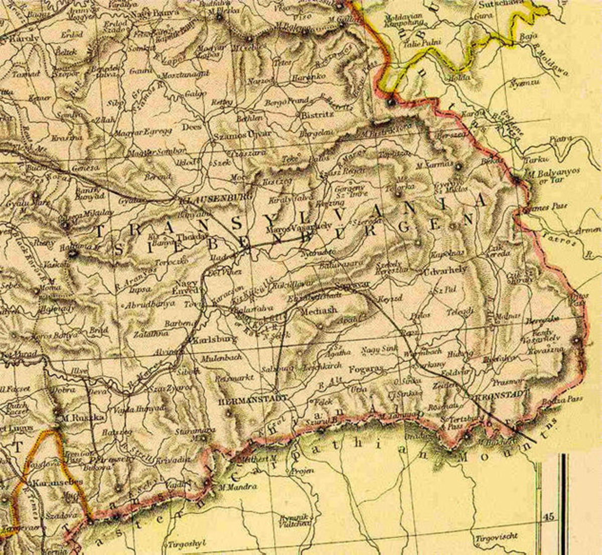 Transylvania in Hugary before 1919.  The most interesting aspect to this map is the fact that the Latin and German names are used.