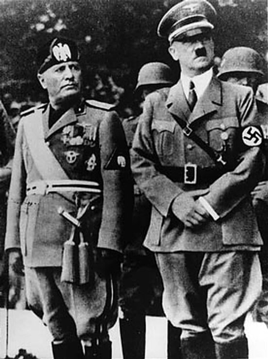 Hitler here with Mussolini. Hitler was a young struggling artist that grew up in Vienna. This is before he went totally bonkers and wanted to kill everyone