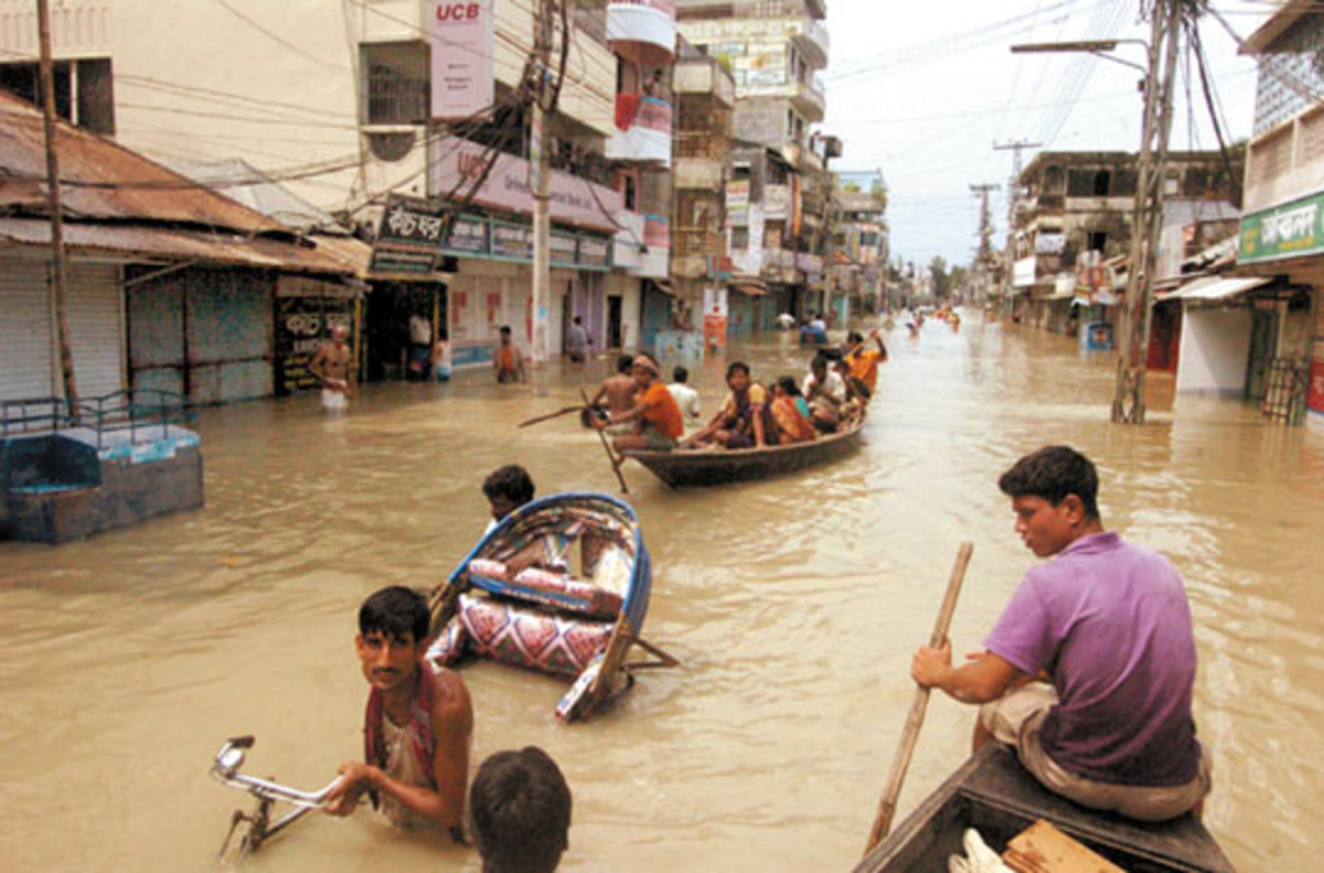 The Third World will suffer most as climate warms.  With more extreme rain events likely, and higher sea levels, the future is likely to hold many more scenes such as this image of the 2007 flooding in Bangladesh.  Image courtesy New Nation.