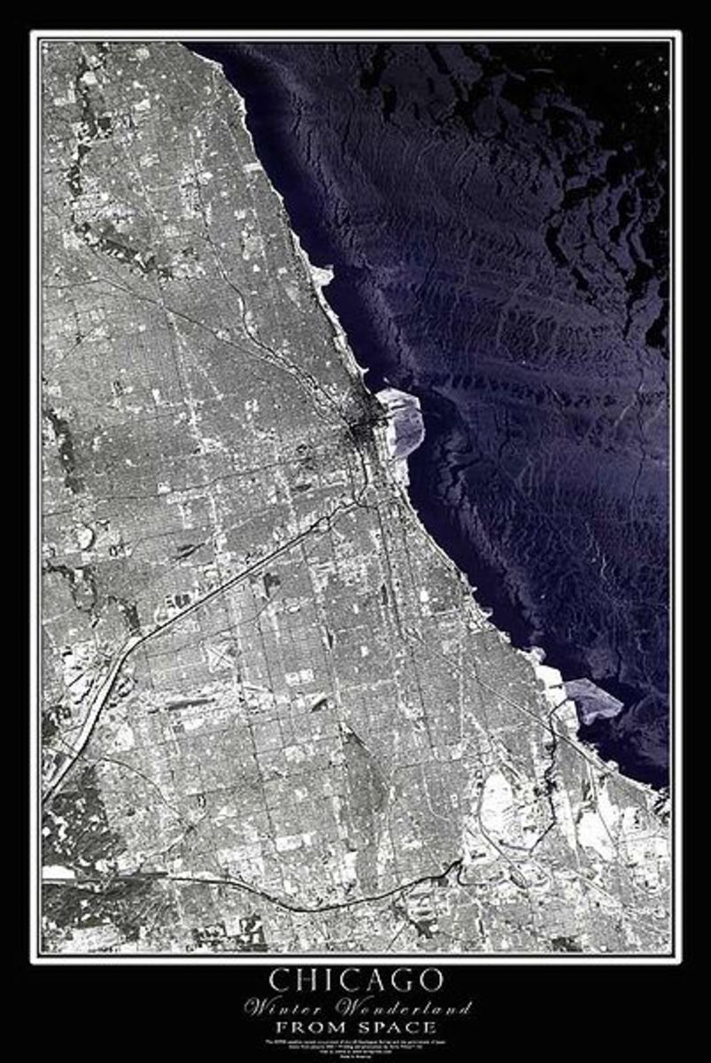 Chicago, IL, from space, on November 10, 2006.  Image courtesy Terraprints & Wikipedia.