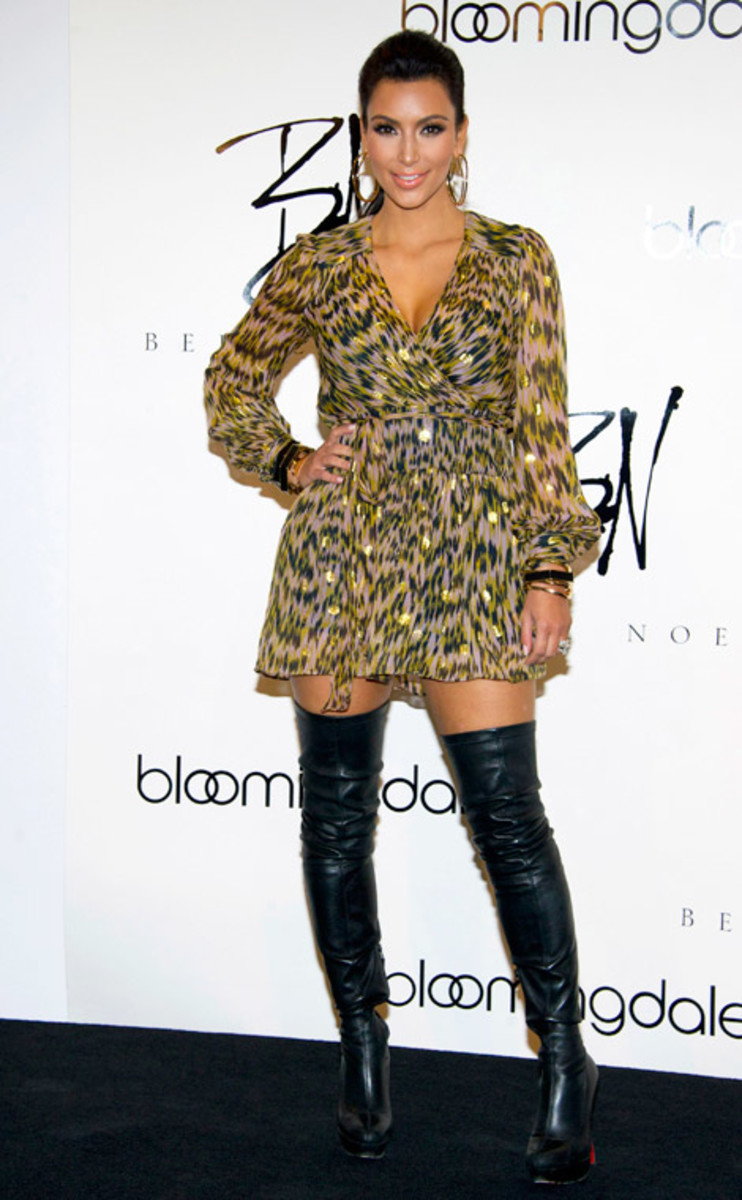 Kim Kardashian in Christian Louboutin Thigh High Boots