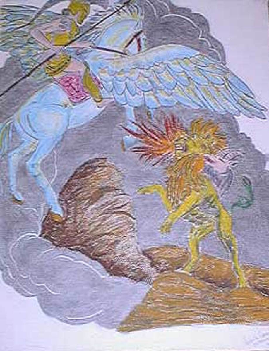 Bellerophon Rides Pegasos and Defeats the Chimaira