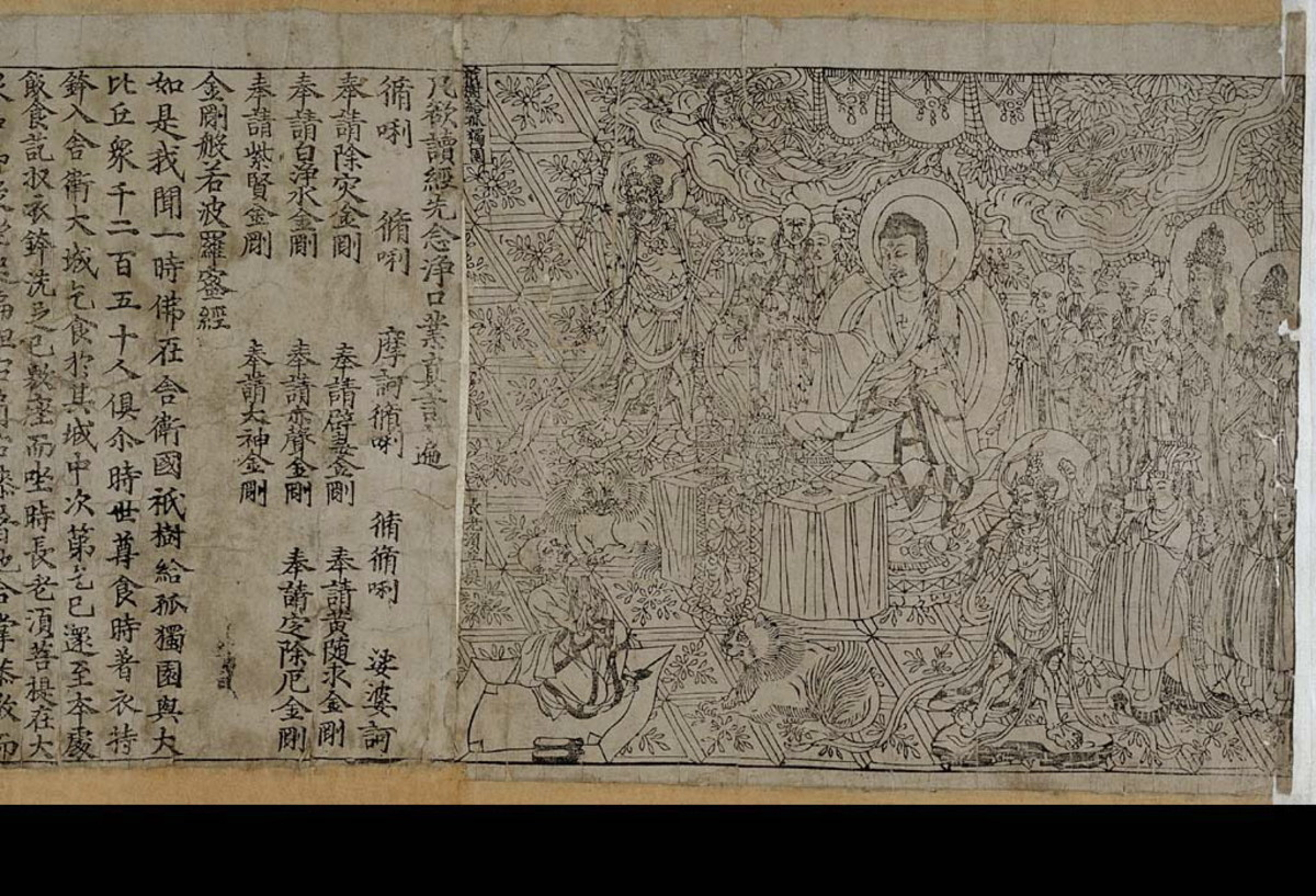 The Chinese Diamond Sutra, the oldest known dated printed book in the world, printed in the 9th year of Xiantong Era of the Tang Dynasty (Buddhist)