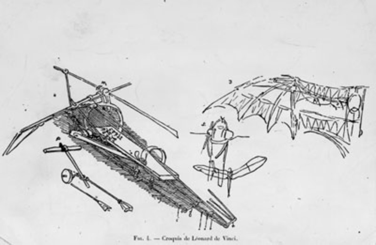 A sketch of Leonardo da Vinci's complex ornithopter