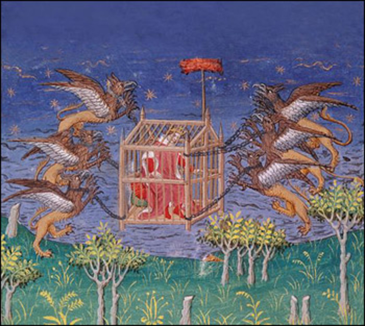 Alexander carried by griffins in his flying machine