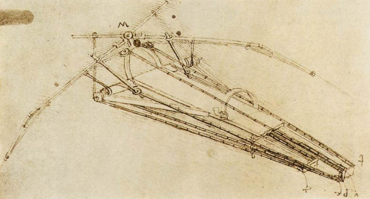Drawing of a flying machine Leonardo-da-Vinci