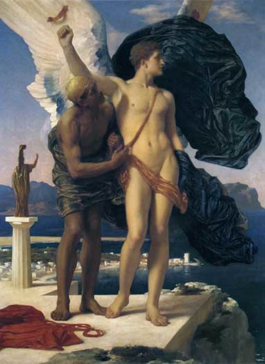This painting is called Daedalus and Icarus, by Fredrick Leighton (1830-1896).